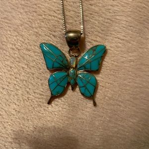 Beautiful turquoise and opal butterfly necklace